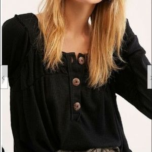 Free People Black Must Have Henley Cotton Top